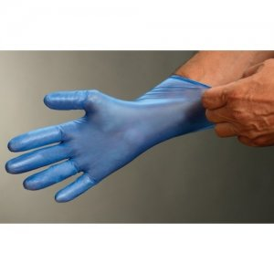 Blue Vinyl Pre-Powdered Disposable Gloves