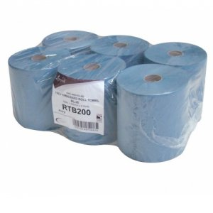 RTB200 Leonardo 200m 1 Ply Blue 6 Roll Towel Case
